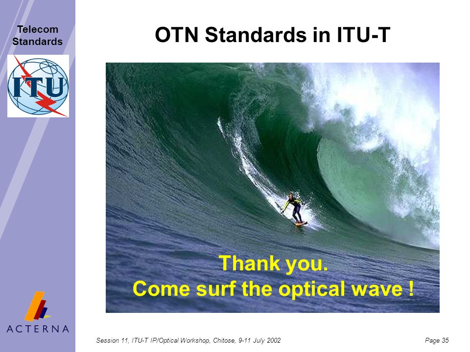 Session 11, ITU-T IP/Optical Workshop, Chitose, 9-11 July 2002Page 34 Telecom Standards Performance model for ASON/IP client interactions Interfaces,
