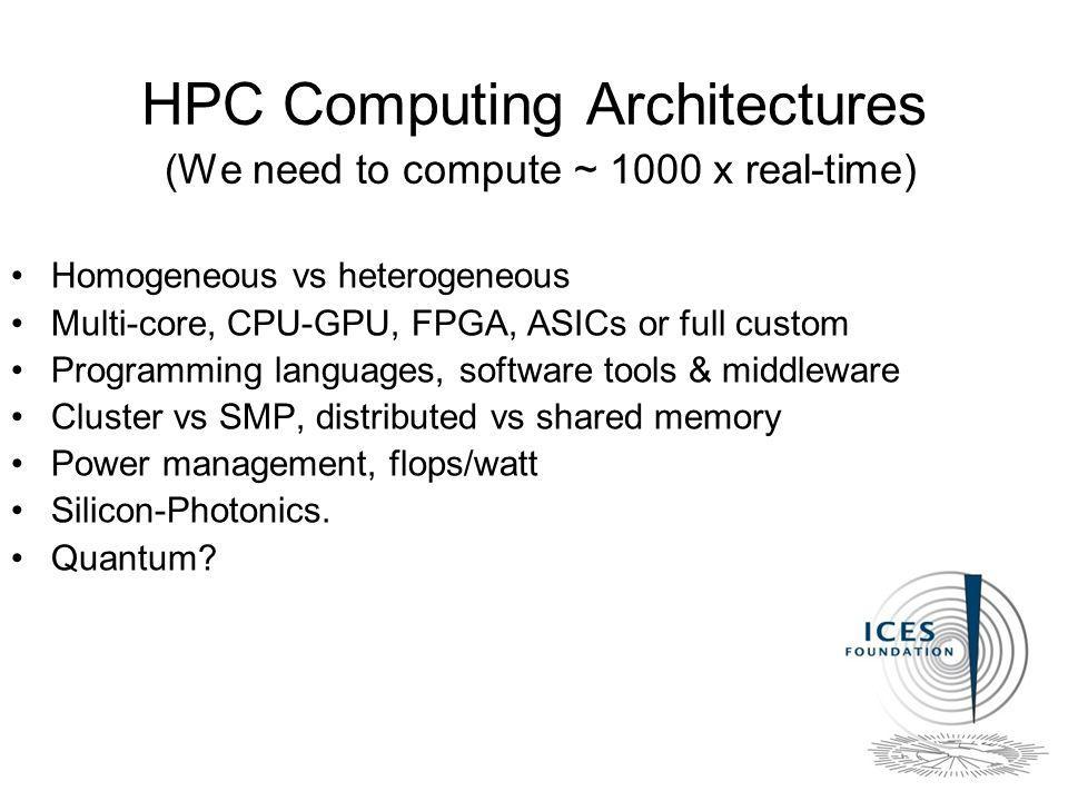 HPC Computing Architectures (We need to compute ~ 1000 x real-time) Homogeneous vs heterogeneous Multi-core, CPU-GPU, FPGA, ASICs or full custom Programming languages, software tools & middleware Cluster vs SMP, distributed vs shared memory Power management, flops/watt Silicon-Photonics.