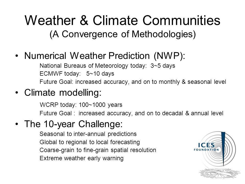 Weather & Climate Communities (A Convergence of Methodologies) Numerical Weather Prediction (NWP): National Bureaus of Meteorology today: 3~5 days ECMWF today: 5~10 days Future Goal: increased accuracy, and on to monthly & seasonal level Climate modelling: WCRP today: 100~1000 years Future Goal : increased accuracy, and on to decadal & annual level The 10-year Challenge: Seasonal to inter-annual predictions Global to regional to local forecasting Coarse-grain to fine-grain spatial resolution Extreme weather early warning