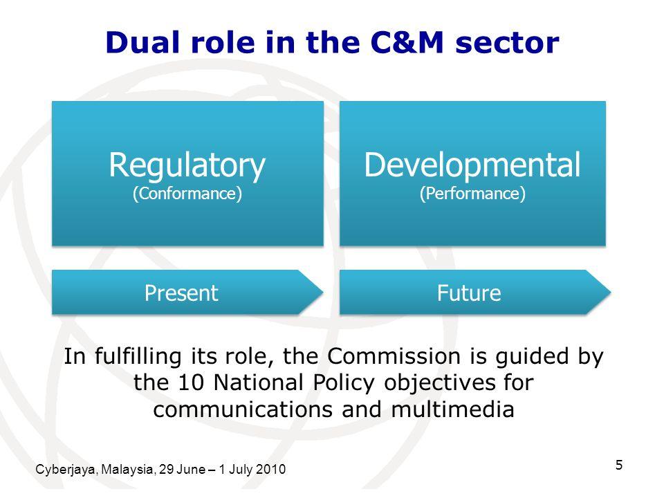 Cyberjaya, Malaysia, 29 June – 1 July 2010 5 Dual role in the C&M sector Regulatory (Conformance) Regulatory (Conformance) Present Developmental (Perf