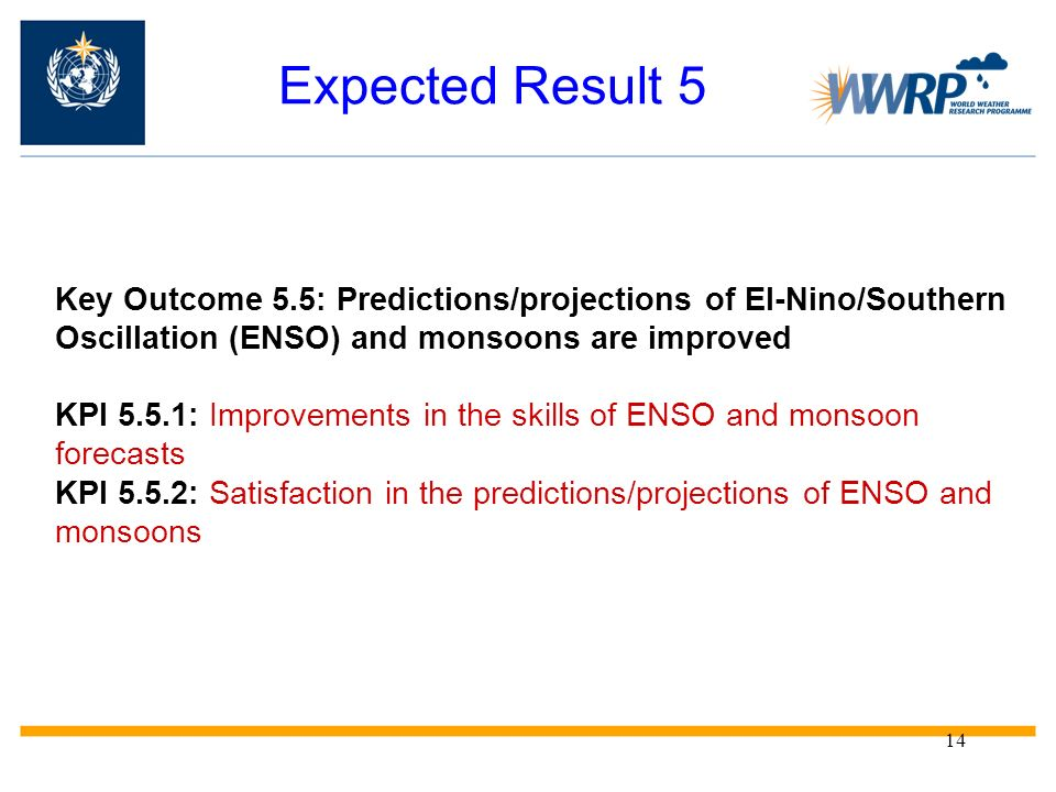 14 Expected Result 5 Key Outcome 5.5: Predictions/projections of El-Nino/Southern Oscillation (ENSO) and monsoons are improved KPI 5.5.1: Improvements