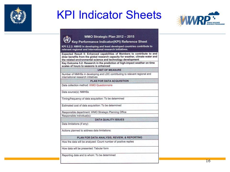 16 KPI Indicator Sheets