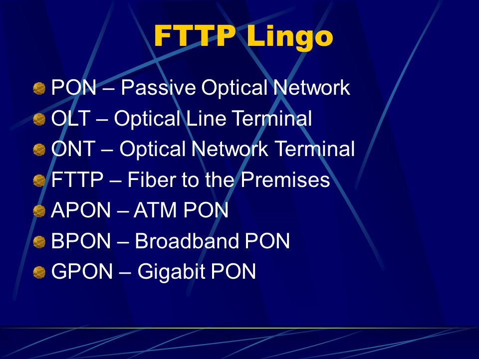 FTTP Lingo PON – Passive Optical Network OLT – Optical Line Terminal ONT – Optical Network Terminal FTTP – Fiber to the Premises APON – ATM PON BPON – Broadband PON GPON – Gigabit PON