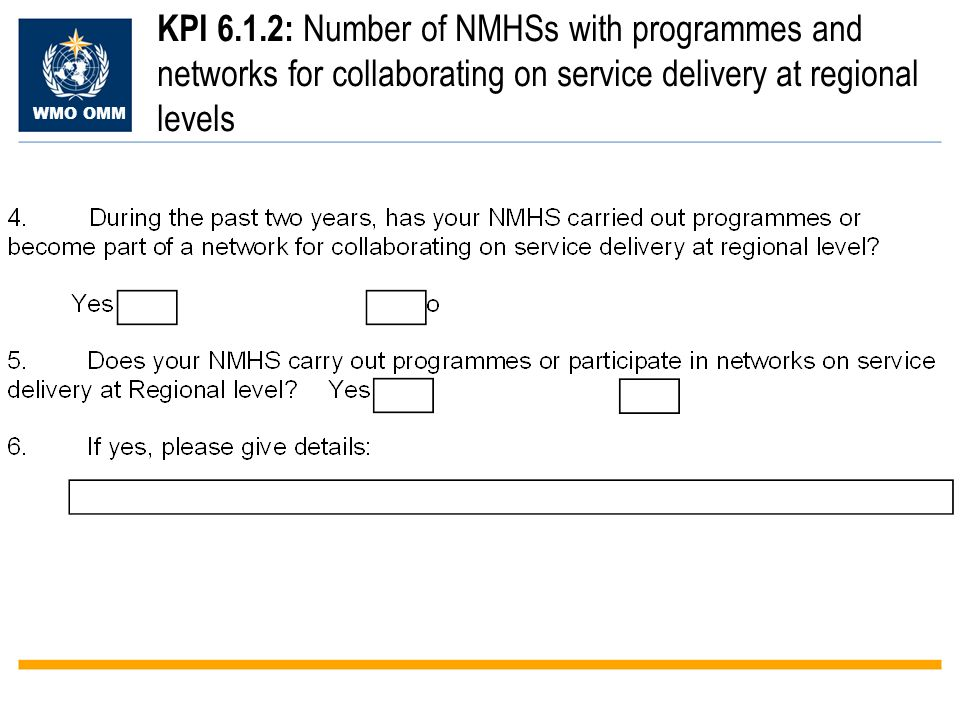 WMO OMM KPI 6.1.2: Number of NMHSs with programmes and networks for collaborating on service delivery at regional levels