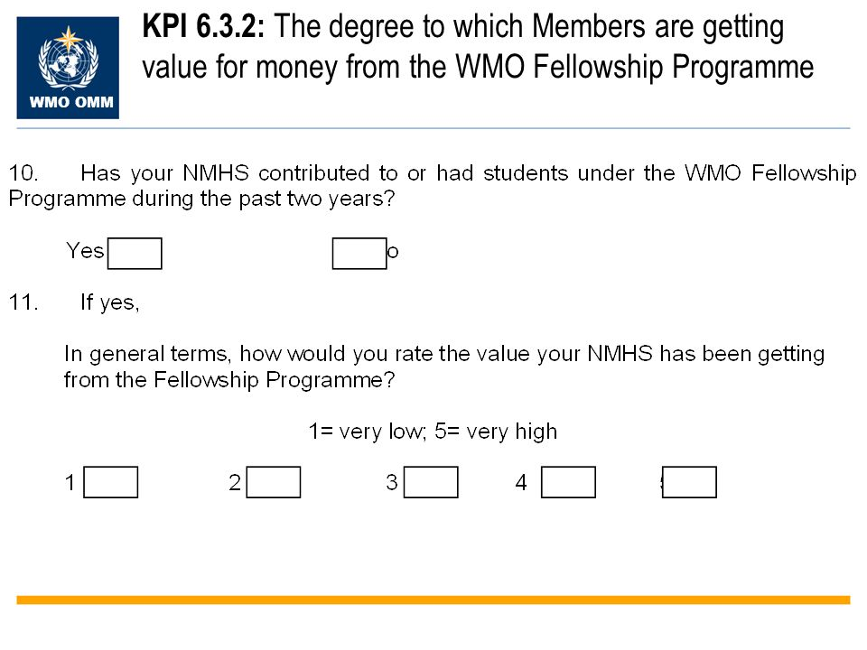 WMO OMM KPI 6.3.2: The degree to which Members are getting value for money from the WMO Fellowship Programme