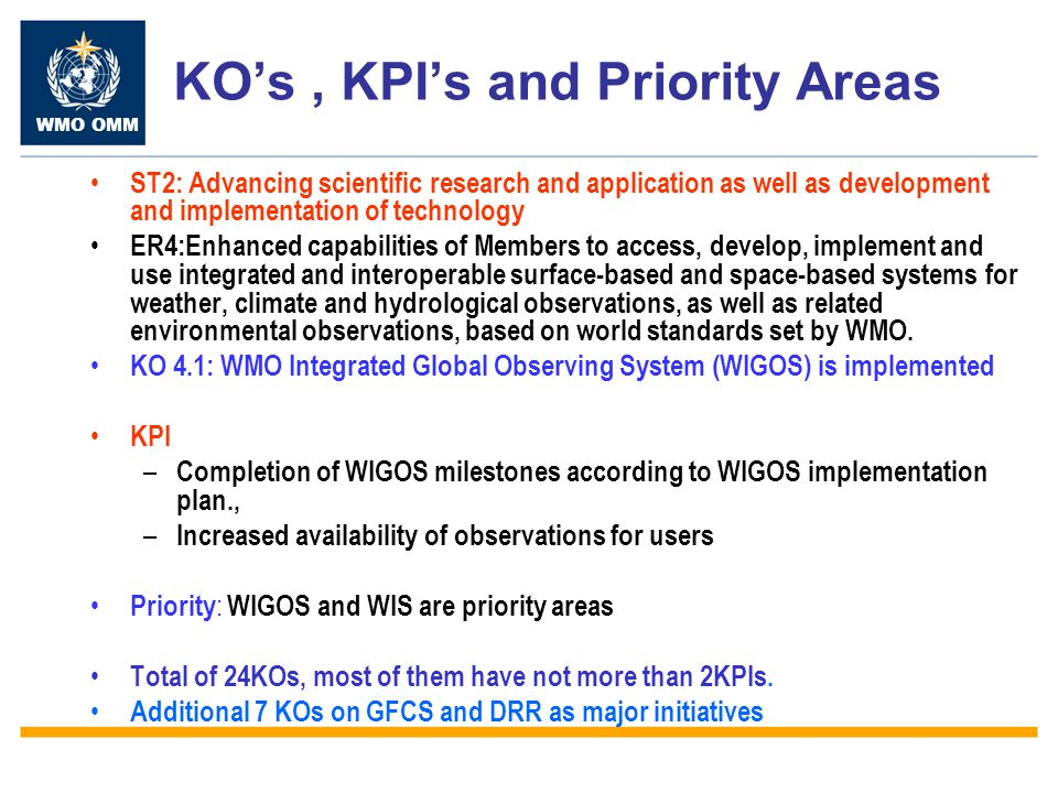 WMO OMM KOs, KPIs and Priority Areas ST2: Advancing scientific research and application as well as development and implementation of technology ER4:Enhanced capabilities of Members to access, develop, implement and use integrated and interoperable surface-based and space-based systems for weather, climate and hydrological observations, as well as related environmental observations, based on world standards set by WMO.