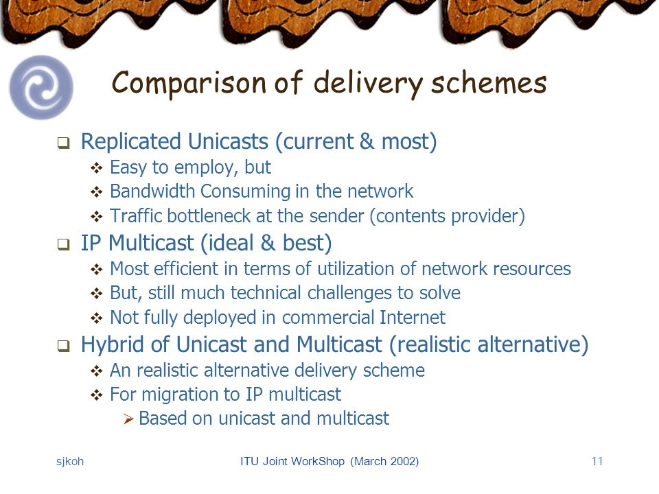 sjkohITU Joint WorkShop (March 2002)11 Comparison of delivery schemes Replicated Unicasts (current & most) Easy to employ, but Bandwidth Consuming in the network Traffic bottleneck at the sender (contents provider) IP Multicast (ideal & best) Most efficient in terms of utilization of network resources But, still much technical challenges to solve Not fully deployed in commercial Internet Hybrid of Unicast and Multicast (realistic alternative) An realistic alternative delivery scheme For migration to IP multicast Based on unicast and multicast