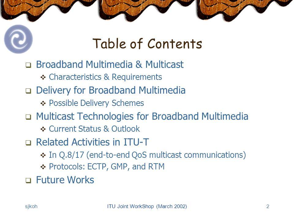 sjkohITU Joint WorkShop (March 2002)23 GMP: Overview Group Management Protocol Session management: Group Creation/Registrations Membership Management (MMP) Session Management Application MMP TCP/UDP ECTP IP