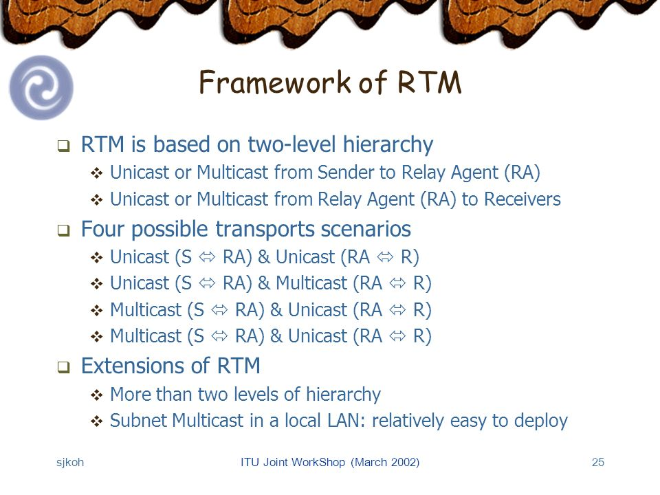 sjkohITU Joint WorkShop (March 2002)25 Framework of RTM RTM is based on two-level hierarchy Unicast or Multicast from Sender to Relay Agent (RA) Unicast or Multicast from Relay Agent (RA) to Receivers Four possible transports scenarios Unicast (S RA) & Unicast (RA R) Unicast (S RA) & Multicast (RA R) Multicast (S RA) & Unicast (RA R) Extensions of RTM More than two levels of hierarchy Subnet Multicast in a local LAN: relatively easy to deploy