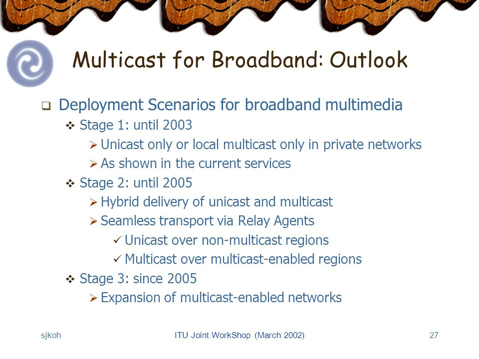 sjkohITU Joint WorkShop (March 2002)27 Multicast for Broadband: Outlook Deployment Scenarios for broadband multimedia Stage 1: until 2003 Unicast only or local multicast only in private networks As shown in the current services Stage 2: until 2005 Hybrid delivery of unicast and multicast Seamless transport via Relay Agents Unicast over non-multicast regions Multicast over multicast-enabled regions Stage 3: since 2005 Expansion of multicast-enabled networks