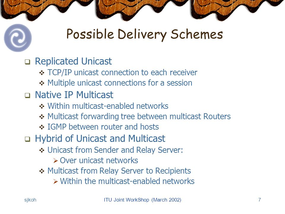 sjkohITU Joint WorkShop (March 2002)7 Possible Delivery Schemes Replicated Unicast TCP/IP unicast connection to each receiver Multiple unicast connections for a session Native IP Multicast Within multicast-enabled networks Multicast forwarding tree between multicast Routers IGMP between router and hosts Hybrid of Unicast and Multicast Unicast from Sender and Relay Server: Over unicast networks Multicast from Relay Server to Recipients Within the multicast-enabled networks