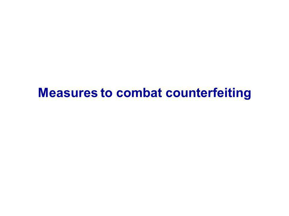 Measures to combat counterfeiting
