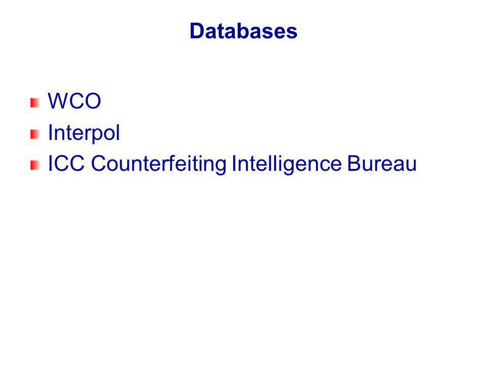 Databases WCO Interpol ICC Counterfeiting Intelligence Bureau