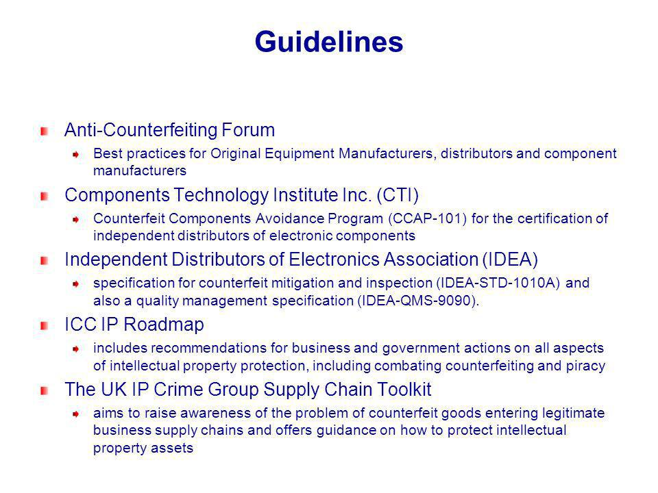 Guidelines Anti-Counterfeiting Forum Best practices for Original Equipment Manufacturers, distributors and component manufacturers Components Technolo