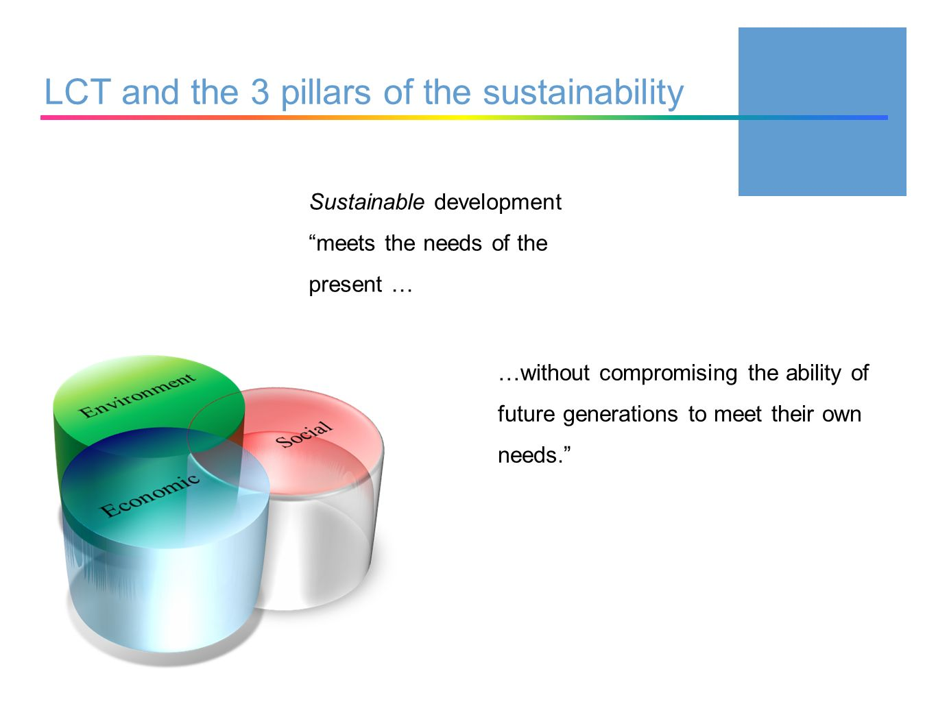 LCT and the 3 pillars of the sustainability …without compromising the ability of future generations to meet their own needs.