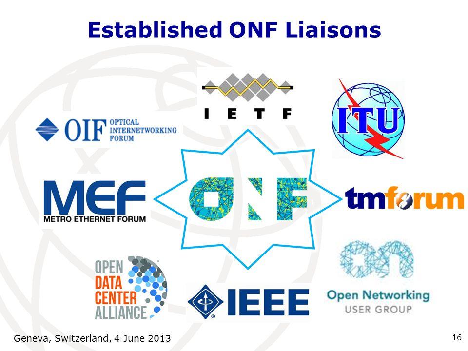 Established ONF Liaisons Geneva, Switzerland, 4 June 2013 16