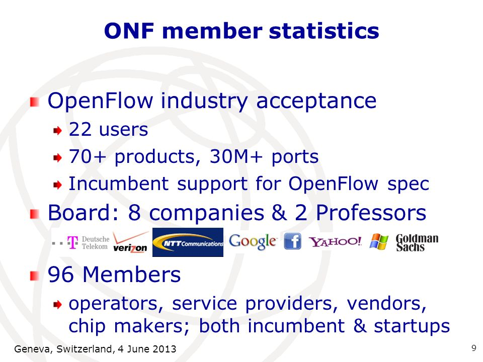 ONF member statistics OpenFlow industry acceptance 22 users 70+ products, 30M+ ports Incumbent support for OpenFlow spec Board: 8 companies & 2 Profes