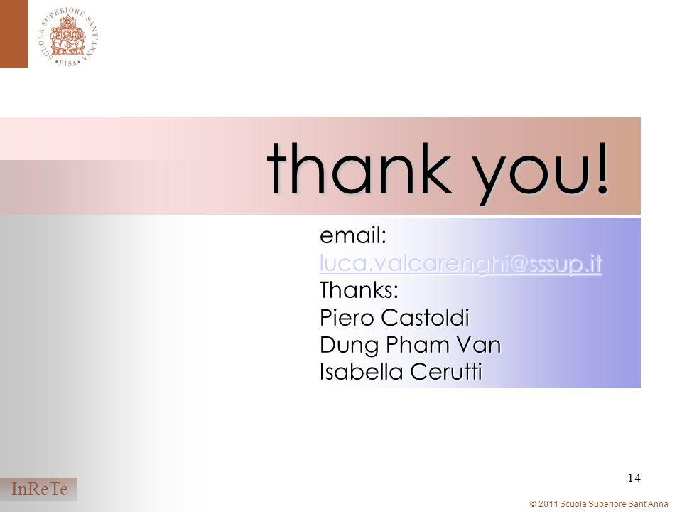 © 2011 Scuola Superiore SantAnna InReTe 14 email: luca.valcarenghi@sssup.it luca.valcarenghi@sssup.it Thanks: Piero Castoldi Dung Pham Van Isabella Cerutti thank you!