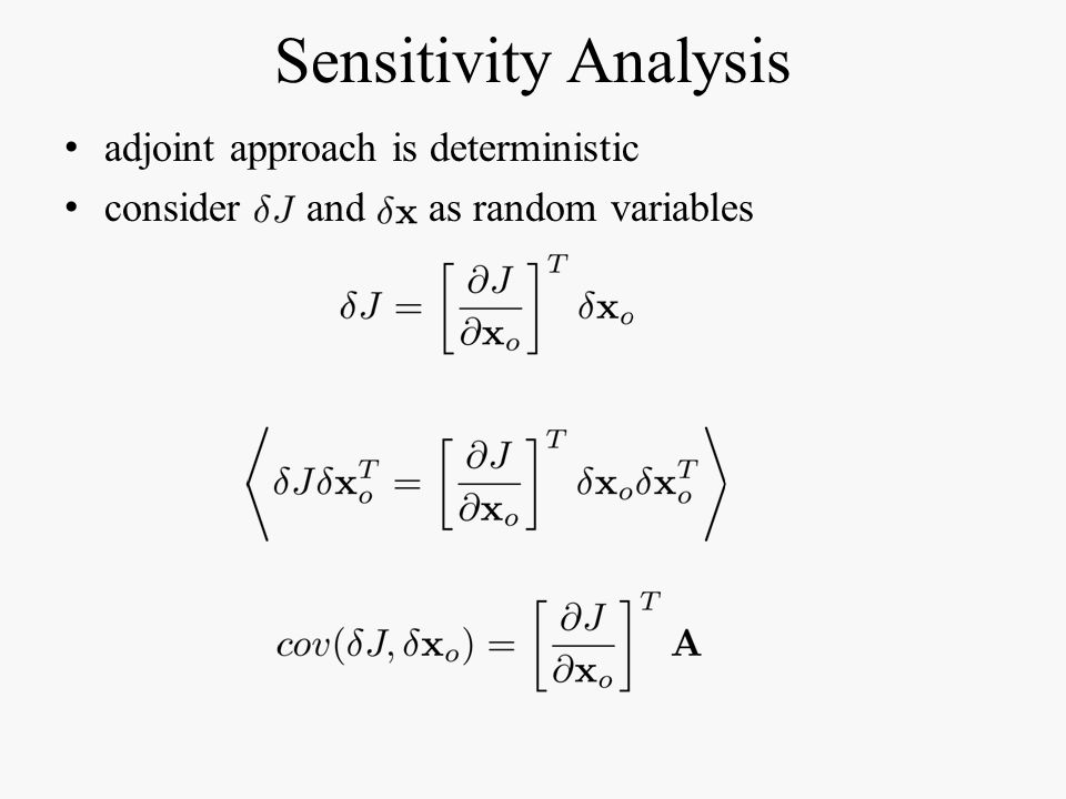 Sensitivity Analysis adjoint approach is deterministic consider and as random variables