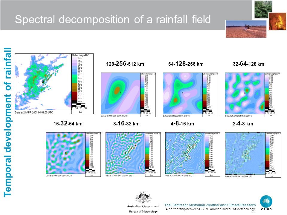 The Centre for Australian Weather and Climate Research A partnership between CSIRO and the Bureau of Meteorology Spectral decomposition of a rainfall field 128- 256 -512 km64- 128 -256 km32- 64 -128 km 16- 32 -64 km8- 16 -32 km2- 4 -8 km4 -8 -16 km Temporal development of rainfall