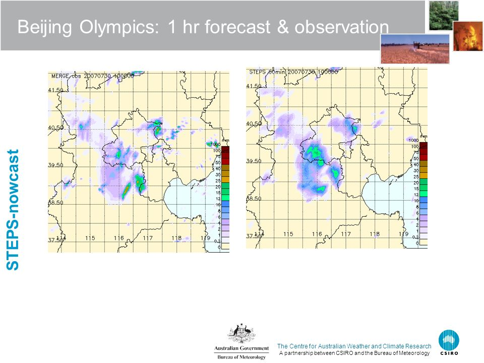 The Centre for Australian Weather and Climate Research A partnership between CSIRO and the Bureau of Meteorology Beijing Olympics: 1 hr forecast & obs