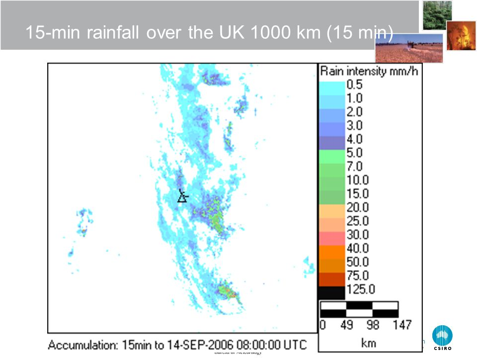 The Centre for Australian Weather and Climate Research A partnership between CSIRO and the Bureau of Meteorology 15-min rainfall over the UK 1000 km (15 min)