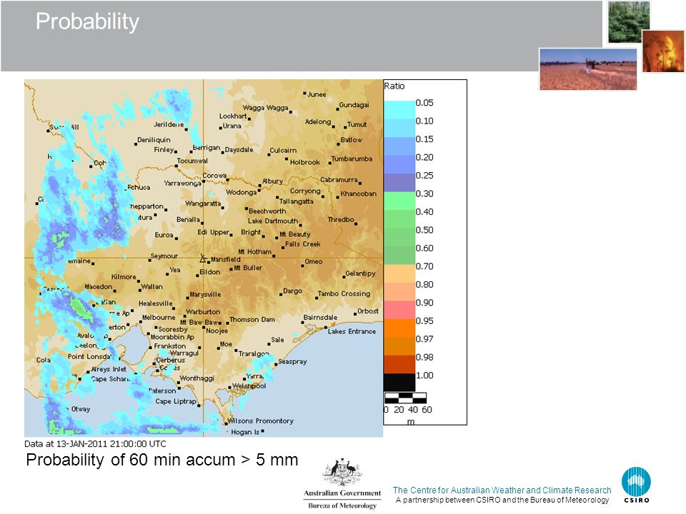 The Centre for Australian Weather and Climate Research A partnership between CSIRO and the Bureau of Meteorology Probability Probability of 60 min acc