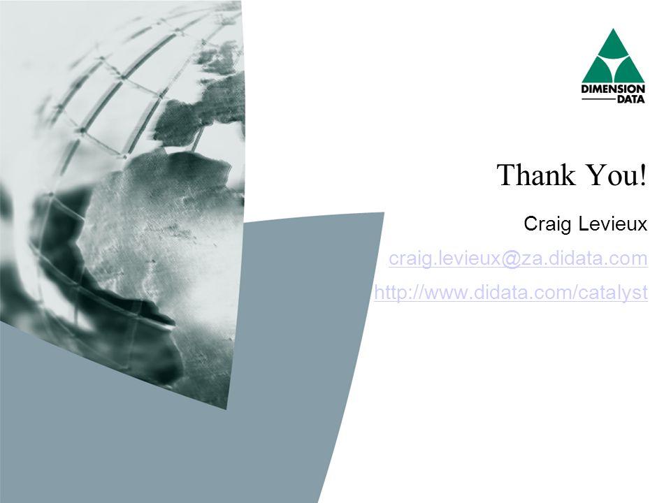 Thank You! Craig Levieux craig.levieux@za.didata.com http://www.didata.com/catalyst