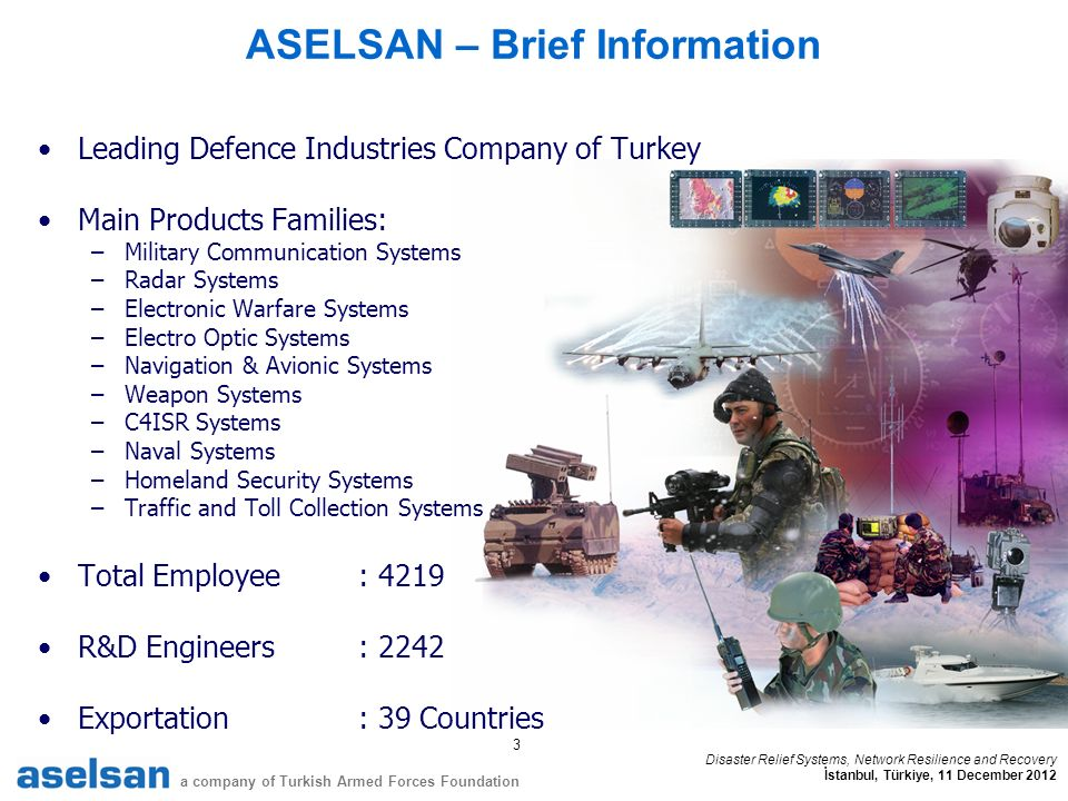 3 a company of Turkish Armed Forces Foundation Disaster Relief Systems, Network Resilience and Recovery İstanbul, Türkiye, 11 December 2012 ASELSAN – Brief Information Leading Defence Industries Company of Turkey Main Products Families: –Military Communication Systems –Radar Systems –Electronic Warfare Systems –Electro Optic Systems –Navigation & Avionic Systems –Weapon Systems –C4ISR Systems –Naval Systems –Homeland Security Systems –Traffic and Toll Collection Systems Total Employee: 4219 R&D Engineers: 2242 Exportation: 39 Countries