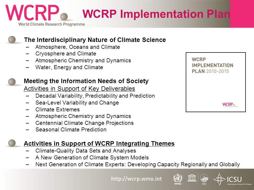 WCRP Implementation Plan The Interdisciplinary Nature of Climate Science –Atmosphere, Oceans and Climate –Cryosphere and Climate –Atmospheric Chemistry and Dynamics –Water, Energy and Climate Meeting the Information Needs of Society Activities in Support of Key Deliverables –Decadal Variability, Predictability and Prediction –Sea-Level Variability and Change –Climate Extremes –Atmospheric Chemistry and Dynamics –Centennial Climate Change Projections –Seasonal Climate Prediction Activities in Support of WCRP Integrating Themes –Climate-Quality Data Sets and Analyses –A New Generation of Climate System Models –Next Generation of Climate Experts: Developing Capacity Regionally and Globally