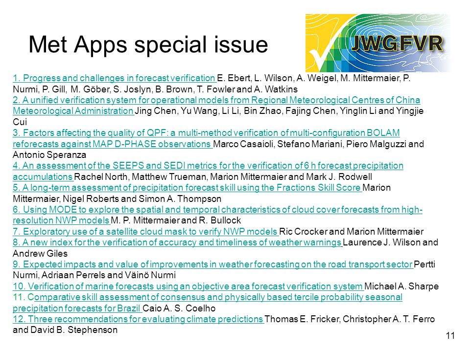 Met Apps special issue Progress and challenges in forecast verification 1.