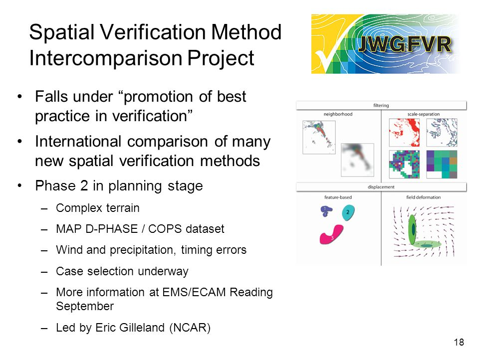 18 Spatial Verification Method Intercomparison Project Falls under promotion of best practice in verification International comparison of many new spatial verification methods Phase 2 in planning stage –Complex terrain –MAP D-PHASE / COPS dataset –Wind and precipitation, timing errors –Case selection underway –More information at EMS/ECAM Reading September –Led by Eric Gilleland (NCAR)