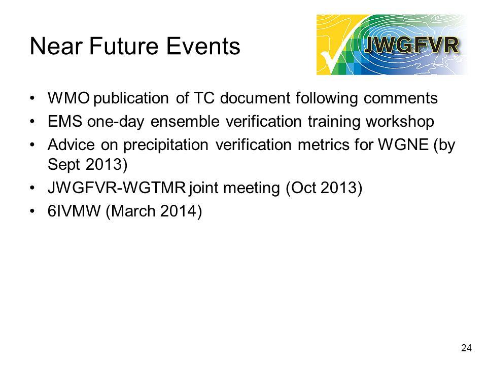 Near Future Events WMO publication of TC document following comments EMS one-day ensemble verification training workshop Advice on precipitation verif