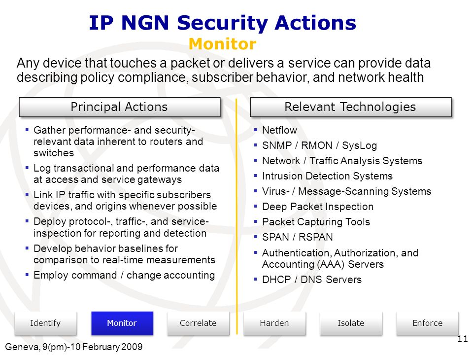 International Telecommunication Union IP NGN Security Actions Monitor Identify Monitor Correlate Isolate Enforce Harden Any device that touches a packet or delivers a service can provide data describing policy compliance, subscriber behavior, and network health Principal Actions Relevant Technologies Gather performance- and security- relevant data inherent to routers and switches Log transactional and performance data at access and service gateways Link IP traffic with specific subscribers devices, and origins whenever possible Deploy protocol-, traffic-, and service- inspection for reporting and detection Develop behavior baselines for comparison to real-time measurements Employ command / change accounting Netflow SNMP / RMON / SysLog Network / Traffic Analysis Systems Intrusion Detection Systems Virus- / Message-Scanning Systems Deep Packet Inspection Packet Capturing Tools SPAN / RSPAN Authentication, Authorization, and Accounting (AAA) Servers DHCP / DNS Servers Geneva, 9(pm)-10 February 2009 11