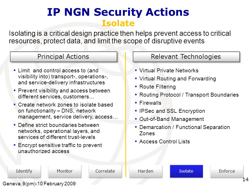 International Telecommunication Union IP NGN Security Actions Isolate Identify Monitor Correlate Isolate Enforce Harden Isolating is a critical design practice then helps prevent access to critical resources, protect data, and limit the scope of disruptive events Principal Actions Relevant Technologies Limit and control access to (and visibility into) transport-, operations-, and service-delivery infrastructures Prevent visibility and access between different services, customers… Create network zones to isolate based on functionality – DNS, network management, service delivery, access… Define strict boundaries between networks, operational layers, and services of different trust-levels Encrypt sensitive traffic to prevent unauthorized access Virtual Private Networks Virtual Routing and Forwarding Route Filtering Routing Protocol / Transport Boundaries Firewalls IPSec and SSL Encryption Out-of-Band Management Demarcation / Functional Separation Zones Access Control Lists Geneva, 9(pm)-10 February 2009 14
