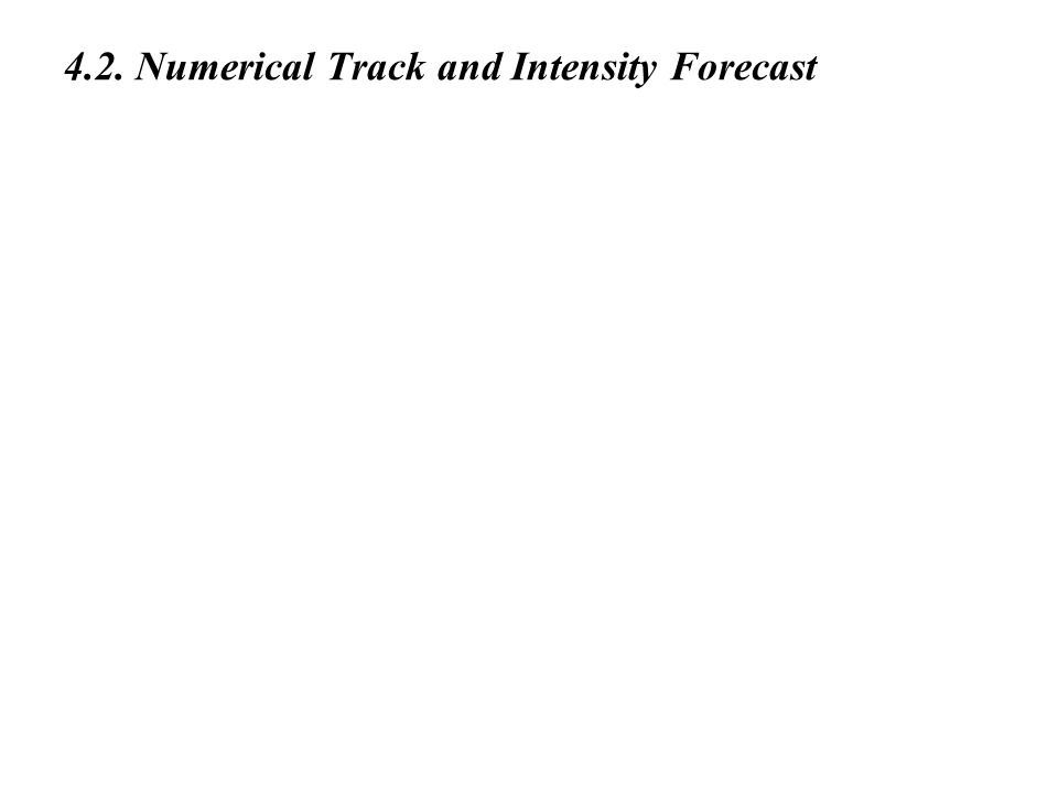 4.2. Numerical Track and Intensity Forecast