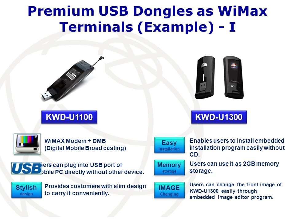 Premium USB Dongles as WiMax Terminals (Example) - I KWD-U1100KWD-U1100 WiMAX Modem + DMB (Digital Mobile Broad casting) KWD-U1300KWD-U1300 Users can plug into USB port of Mobile PC directly without other device.