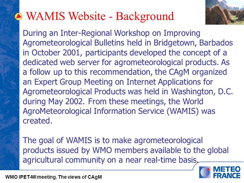WAMIS Website - Background WMO IPET-MI meeting.