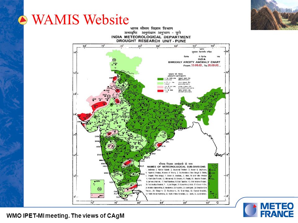 WAMIS Website WMO IPET-MI meeting. The views of CAgM
