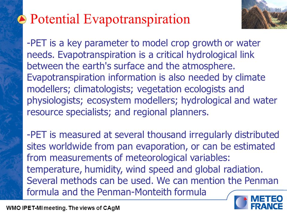 Potential Evapotranspiration WMO IPET-MI meeting.