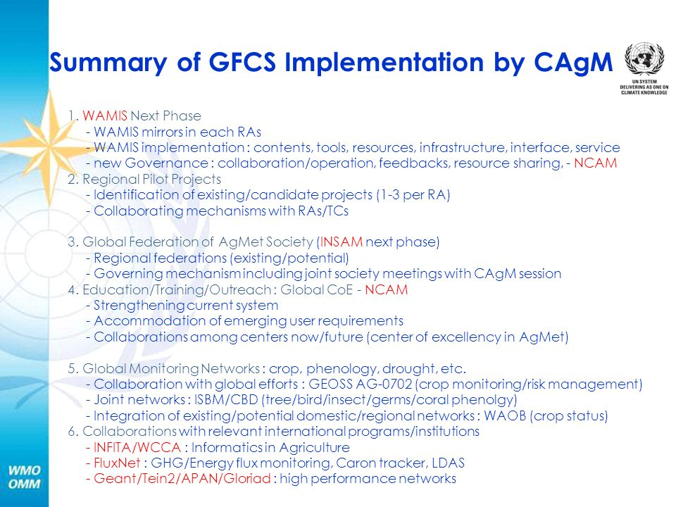 Summary of GFCS Implementation by CAgM 1.