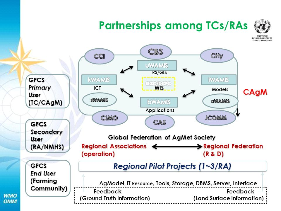 RS/GIS ICT WIS Applications Models GFCSPrimaryUser(TC/CAgM) Global Federation of AgMet Society Regional Pilot Projects (1~3/RA) AgModel, IT Resource, Tools, Storage, DBMS, Server, Interface Regional Associations (operation) CAgM GFCSSecondaryUser(RA/NMHS) Feedback Feedback (Ground Truth Information) (Land Surface Information) Regional Federation (R & D) GFCS End User (Farming Community) Partnerships among TCs/RAs