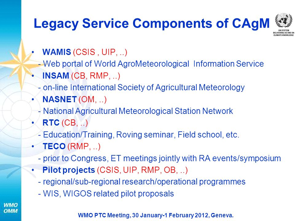 Legacy Service Components of CAgM WAMIS (CSIS, UIP,..) - Web portal of World AgroMeteorological Information Service INSAM (CB, RMP,..) - on-line International Society of Agricultural Meteorology NASNET (OM,..) - National Agricultural Meteorological Station Network RTC (CB,..) - Education/Training, Roving seminar, Field school, etc.