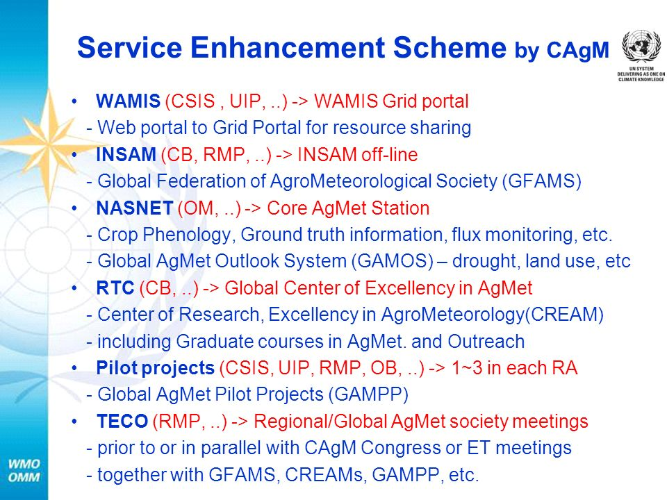 Service Enhancement Scheme by CAgM WAMIS (CSIS, UIP,..) -> WAMIS Grid portal - Web portal to Grid Portal for resource sharing INSAM (CB, RMP,..) -> INSAM off-line - Global Federation of AgroMeteorological Society (GFAMS) NASNET (OM,..) -> Core AgMet Station - Crop Phenology, Ground truth information, flux monitoring, etc.