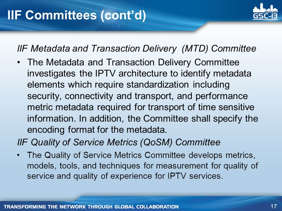 17 IIF Committees (contd) IIF Metadata and Transaction Delivery (MTD) Committee The Metadata and Transaction Delivery Committee investigates the IPTV architecture to identify metadata elements which require standardization including security, connectivity and transport, and performance metric metadata required for transport of time sensitive information.