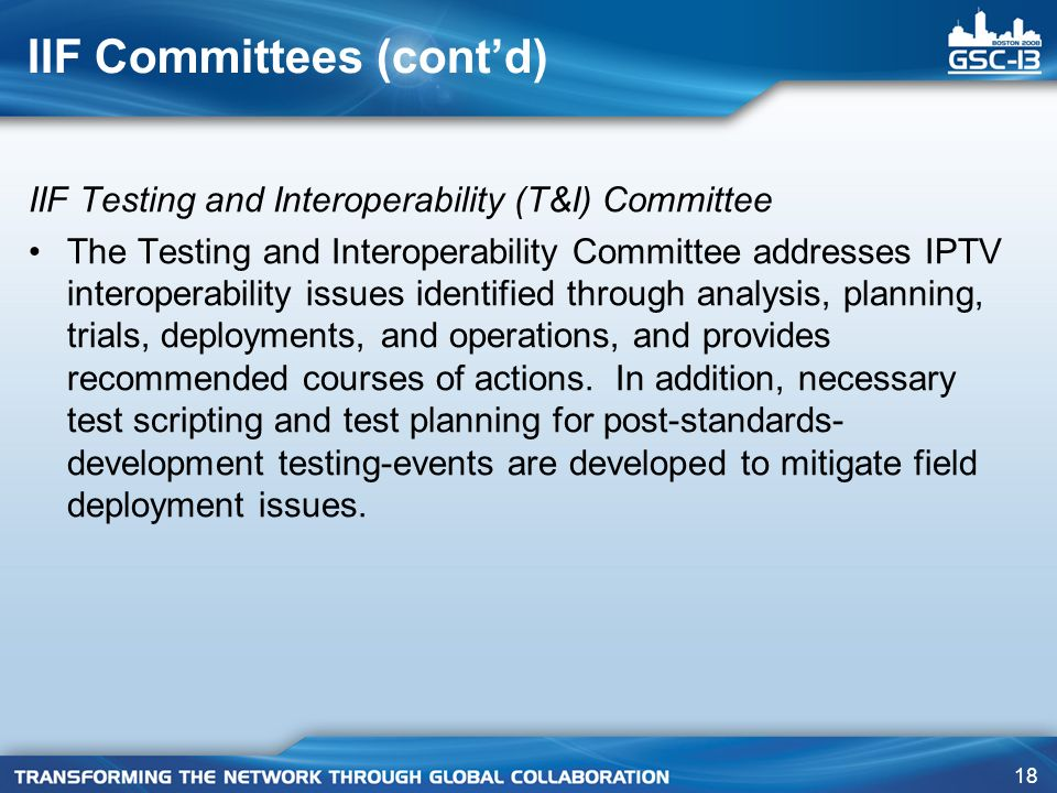 18 IIF Committees (contd) IIF Testing and Interoperability (T&I) Committee The Testing and Interoperability Committee addresses IPTV interoperability issues identified through analysis, planning, trials, deployments, and operations, and provides recommended courses of actions.