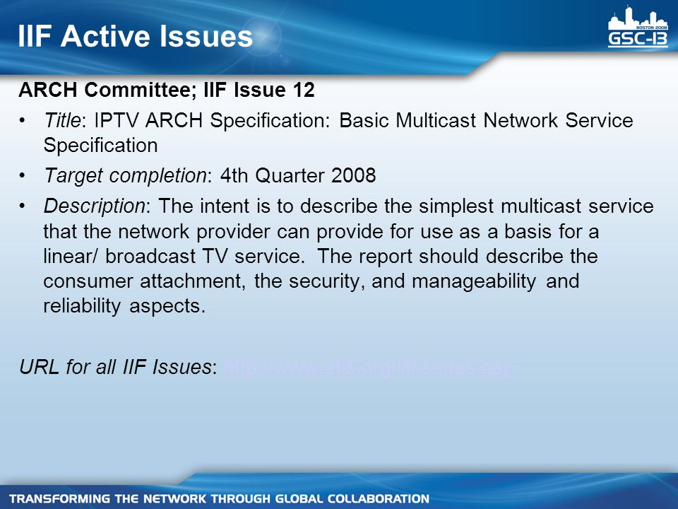 IIF Active Issues ARCH Committee; IIF Issue 12 Title: IPTV ARCH Specification: Basic Multicast Network Service Specification Target completion: 4th Quarter 2008 Description: The intent is to describe the simplest multicast service that the network provider can provide for use as a basis for a linear/ broadcast TV service.