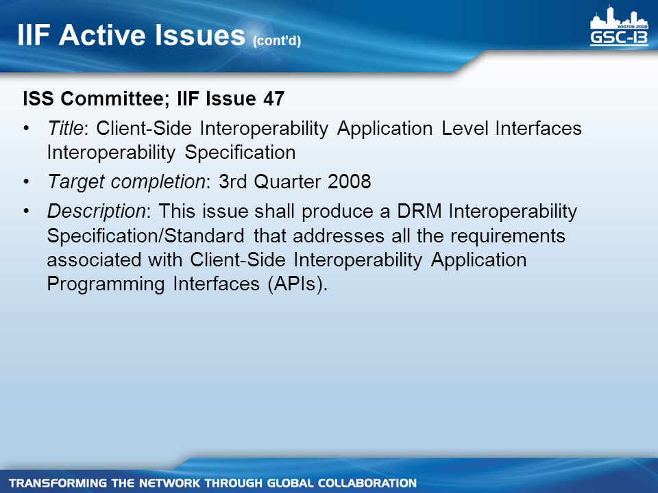 IIF Active Issues (contd) ISS Committee; IIF Issue 47 Title: Client-Side Interoperability Application Level Interfaces Interoperability Specification Target completion: 3rd Quarter 2008 Description: This issue shall produce a DRM Interoperability Specification/Standard that addresses all the requirements associated with Client-Side Interoperability Application Programming Interfaces (APIs).