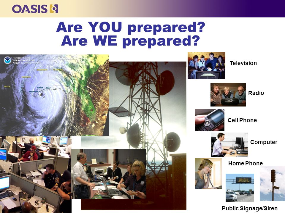 Are YOU prepared? Are WE prepared? Television Radio Cell Phone Computer Home Phone Public Signage/Siren