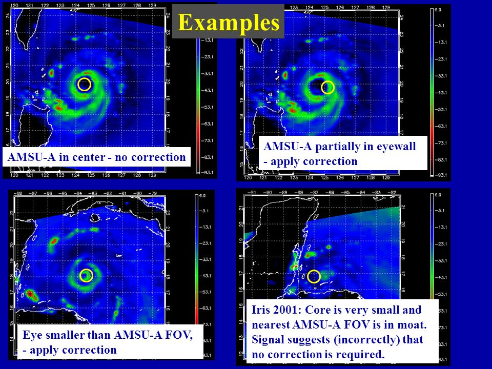 AMSU-A in center - no correction AMSU-A partially in eyewall - apply correction Eye smaller than AMSU-A FOV, - apply correction Iris 2001: Core is very small and nearest AMSU-A FOV is in moat.